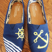 Hand Painted Custom TOMS with nautical symbols