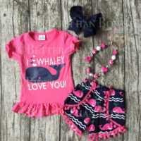 RTS-4pc Girls Whale Outfit, Baby Girls Clothes, Hair Bow, Chunky Necklace