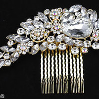 WEDDING BRIDAL DIAMANTE JEWEL CRYSTAL HAIR COMB SLIDE GRIPS **STUNNING**