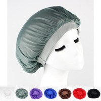 Womens wide band satin bonnet cap sleeping hat