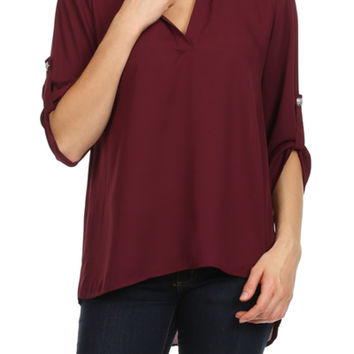 3/4 Sleeve Chiffon V-Neck High Low Blouse