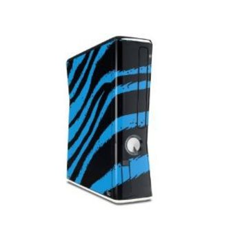 Zebra Blue Decal Style Skin for XBOX 360 Slim Vertical (OEM Packaging)