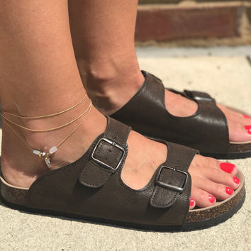 Birkenstock Inspired Sandals- Brown