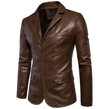 Size M-5XL men business casual leather pocket decoration new and winter suits turn down coat collar Leather jacket cloth