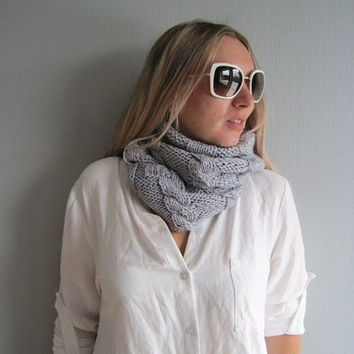 Cowl knitted grey knit loop cable knit scarf unisex infinity handmade scarves