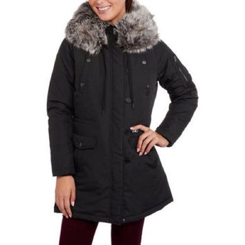 Faded Glory Women's Heavyweight Fur-Trim Parka Coat, Black, M 8-10