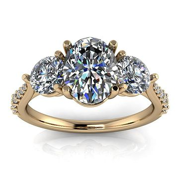 Three Stone Diamond Accent Engagement Ring Oval Moissanite - Magdalena
