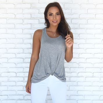Just A Twist Jersey Tank Top In Heather Grey