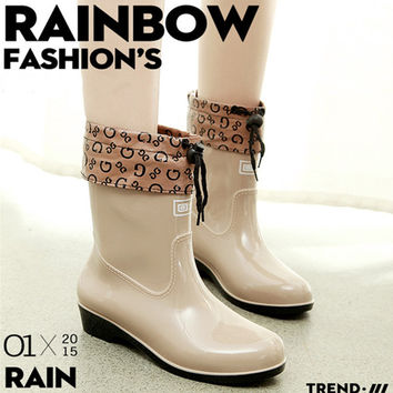 2016 new fashion women rainboots WARRIOR rain boots printed ladies female waterproof rain boots of welly boot water shoes