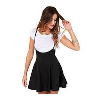 Womens Black With Shoulder Straps Pleated European Style dress