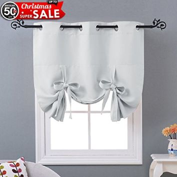 6 Colors Thermal Insulated Grommet Tie Up Blackout Curtain by Nicetown  1 Panel