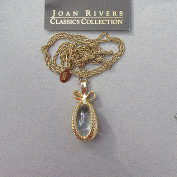 Joan Rivers 1990's Vintage Crystal EGG Pendant Necklace with Card