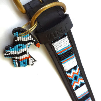 Hand Made Beaded Leather Dog Collar - SANTA FE