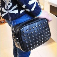 Punk Rivet Lady Single Shoulder Bag Clutch Small Tote Motorcycle Style