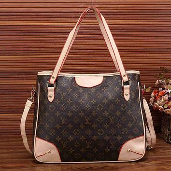 Louis Vuitton Trending Fashion Women Leather Satchel Shoulder Bag Handbag Crossbody Coffee+LV Print G