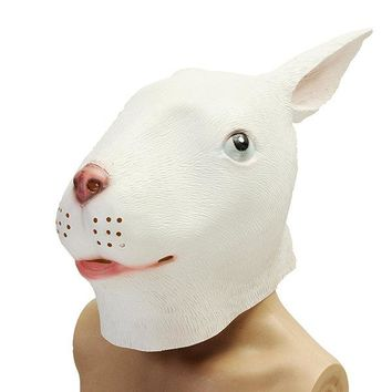White Rabbit Mask Animal Costume Theater Prop Party Cosplay Deluxe Latex