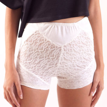 White Lace Boxer Shorts 90s Cut Underwear by fashionmeme on Etsy