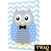 Nursery Owl Print Stretched Canvas Boys Room Decor Wall Art Blue VWAQ-O22