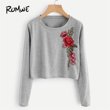 ROMWE Grey Floral Embroidered Applique Marled Crop Tee Women Casual 2018 Autumn Long Sleeve Clothing Tops Ladies Spring T-Shirt