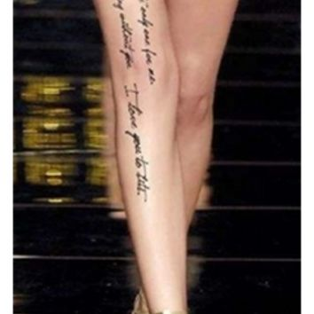 Beige Black Sheer Script Writing Tattoo Lace Stockings Seamless Pantyhose