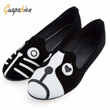 Guapabien Women Brand Shoes Dog Cat Flat Shoes Sapatilhas Women's Shoes Alpargatas Loafers Casual Cartoon Suede Women Flat Shoes