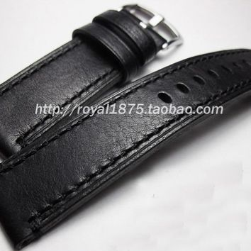 high quality Italy Genuine Leather Watch Strap 18mm 19mm 21mm 22mm Watch Band Black Watchband for Hamilton Mido Longines Seiko