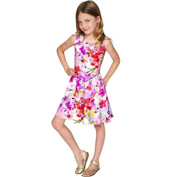 Orchid Caprice Mia Pink Floral Fancy Skater Dress - Girls