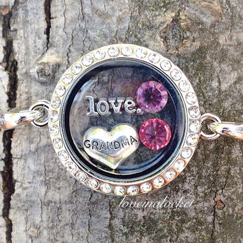 Grandma Locket Bracelet, Grandma Bracelet, Grandkids Bracelet, Birthstone Bracelet, Grandma Gifts, Floating Locket Bracelet, Floating Charms