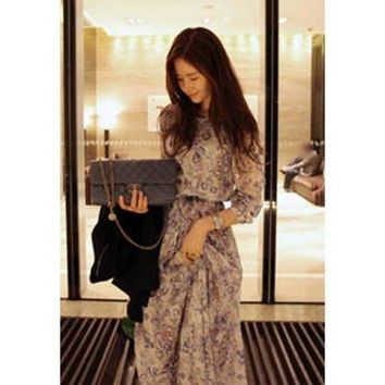 Blue Long Sleeve Chiffon Floral Dress