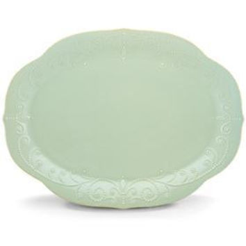 "French Perle Ice Blue 16"" Oval Platter be Lenox"