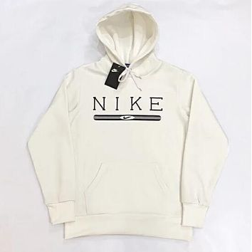 NIKE Trending Women Men Casual Velvet Hoodie Sweater Top Sweatshirt White