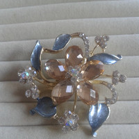 ice blue and beige crystal flower rhinestone goldtone  brooch  pin
