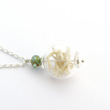 terrarium necklace, glass globe necklace, globe pendant, Sterling Silver, coral pendant, ocean jewelry, seashell necklace, beach, white,