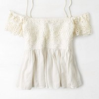 AEO 's Off-the-shoulder Lace Top (Cream)