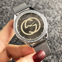 GUCCI Fashion New Diamond Round Shell Women Men Wristwatch Watch