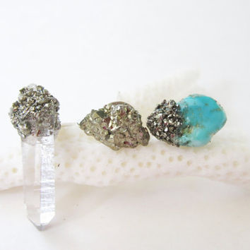 Stud Earring Trio// Raw Crystal Quartz Point// Turquoise // Pyrite //Sterling Silver Post // Boho Modern