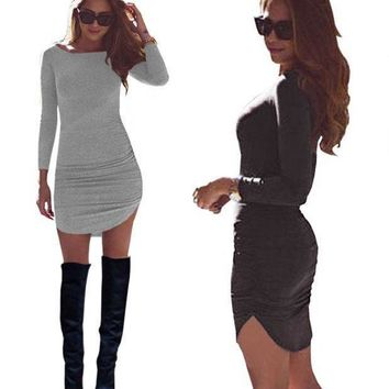 PEAPLO3 Autumn and winter new style, leisure warm, fashion O collar long sleeve tight dress, sexy party clothes,sell well