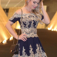 Royal Blue Scoop Neck Homecoming Dress, Short Sleeve Applique A Line Short Homecoming Dress