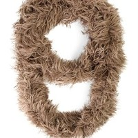 Loose Knit Infinity Scarf with Fur