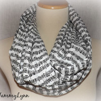 NEW Ready to Ship!! Womens Cotton Music Note Sheet Music Piano Notes Script Print Black and White Infinity Scarf Band Tammy Lynns Creations