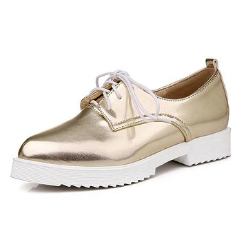 2016 Women Oxfords Gold Silver Brogue Shoes Woman British Style Creepers Patent Leather Flats Casual Women Shoes XWD4206