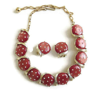 Vintage Retro Brick Red Lucite Thermoset & Clear Rhinestones Necklace and Earrings Demi Parure Set
