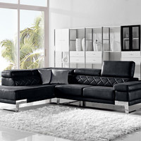 Divani Casa Arden Modern Black Fabric Sectional Sofa - VGMB1263