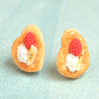 Raspberry Banana Pastry Stud Earrings