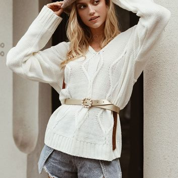 Simplee Solid Double V Neck Sweater Without Belt