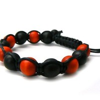 3 Pieces of Black with Red 12mm Macrame Shamballa Beaded Bracelet