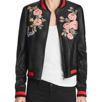 BagatelleFaux Leather Floral Bomber Jacket