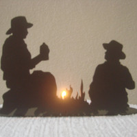Cowboys By A Campfire Tea Light Holder 16 Gauge Metal in Black Matte