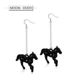 MOON OVER Brand Black And White Horse Tassel Earrings Cute Romantic Korean Style Simple Big Earring For Women Long Chain Jewelry