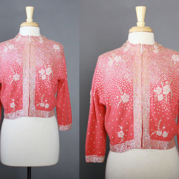 60s Papaya Pink Heavily BEADED CARDIGAN / 1960s Lambswool & Angora Cardi Sweater covered in Sequins